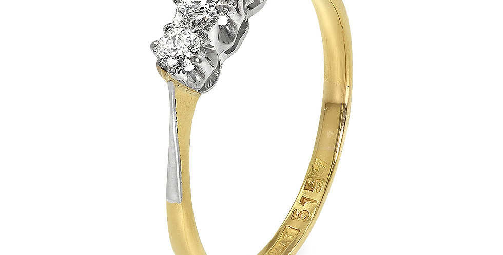 PRE OWNED: 18ct Yellow Gold & Platinum 0.33ct Diamond Trilogy Ring