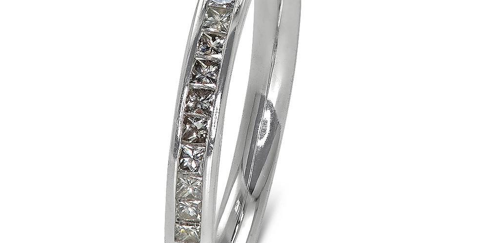 PRE OWNED: 18ct White Gold Princess Cut Diamond Half Eternity Ring