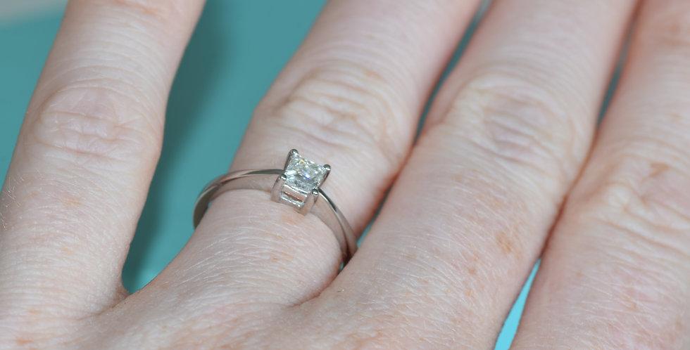Platinum 0.33 Princess Cut Solitaire Diamond Ring