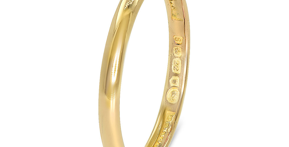 PRE OWNED: 22ct Yellow Gold 2mm Wide Wedding Band