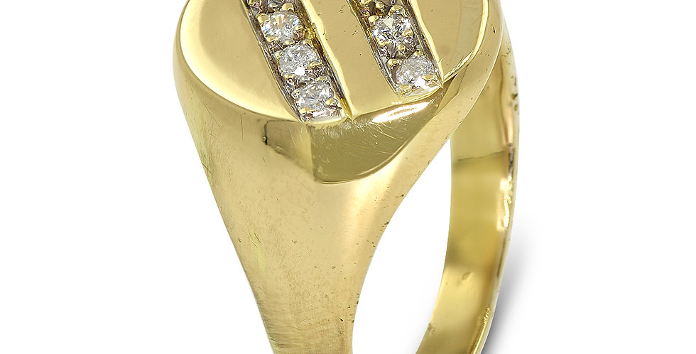 PRE OWNED: 18ct Yellow Gold Gents 8 Stone Diamond Signet Ring