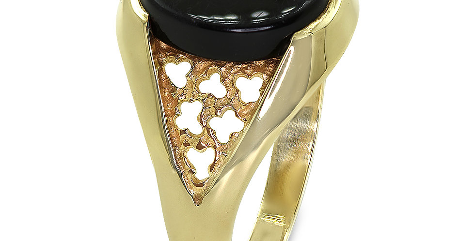 PRE OWNED: 9ct Yellow Gold Oval Onyx Signet Style Ring