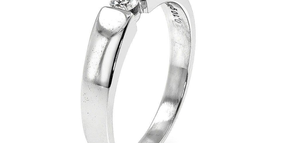 PRE OWNED: 14ct White Gold 0.10 Solitaire Diamond Ring