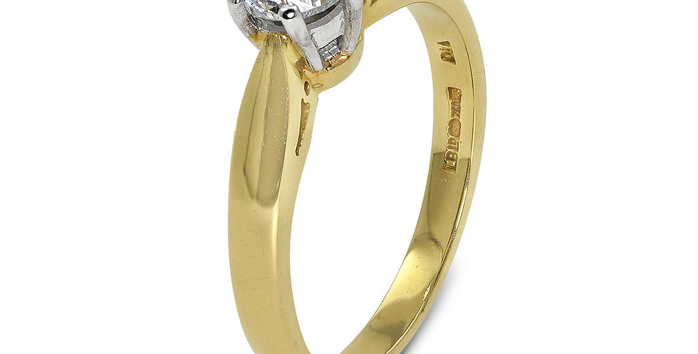 PRE OWNED: 18ct Yellow Gold 0.75ct Diamond Solitaire Ring