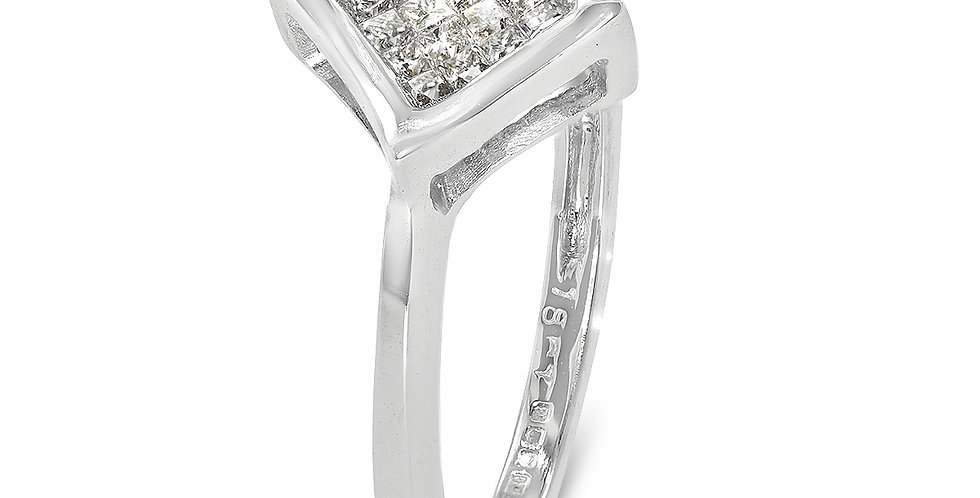 PRE OWNED: 18ct White Gold 16 Princess Cut Diamond Square Ring