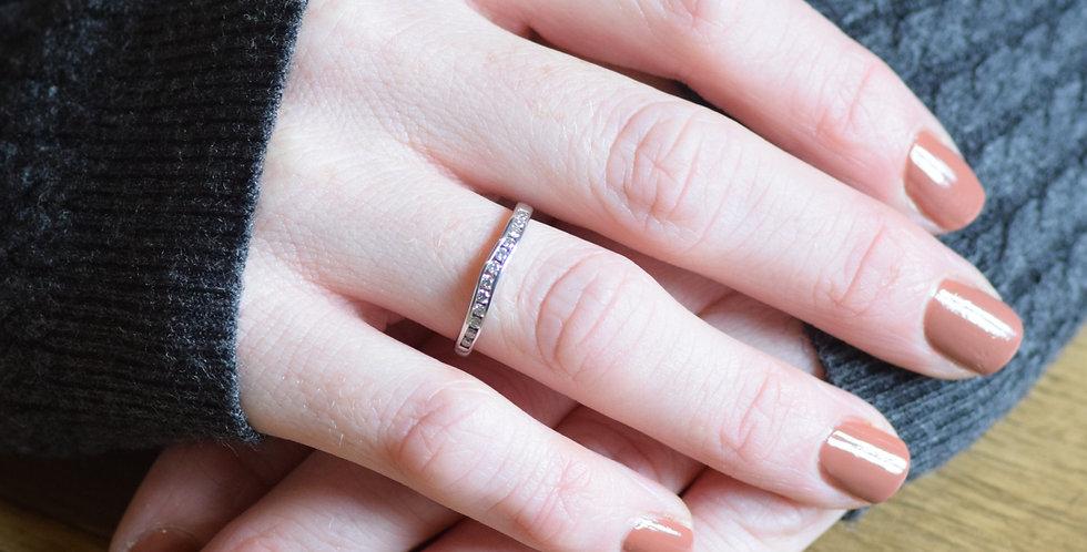 9ct White Gold 0.25ct Diamond Half Eternity Ring