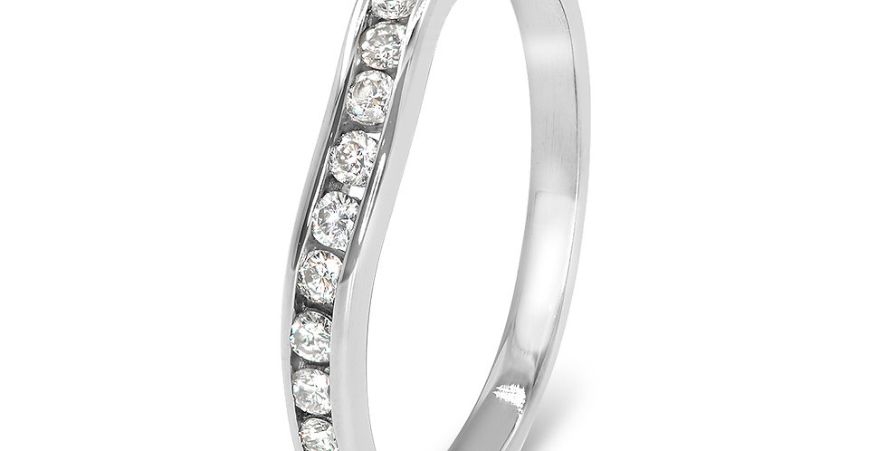 PRE OWNED: 9ct White Gold 0.25ct Diamond Half Eternity Ring