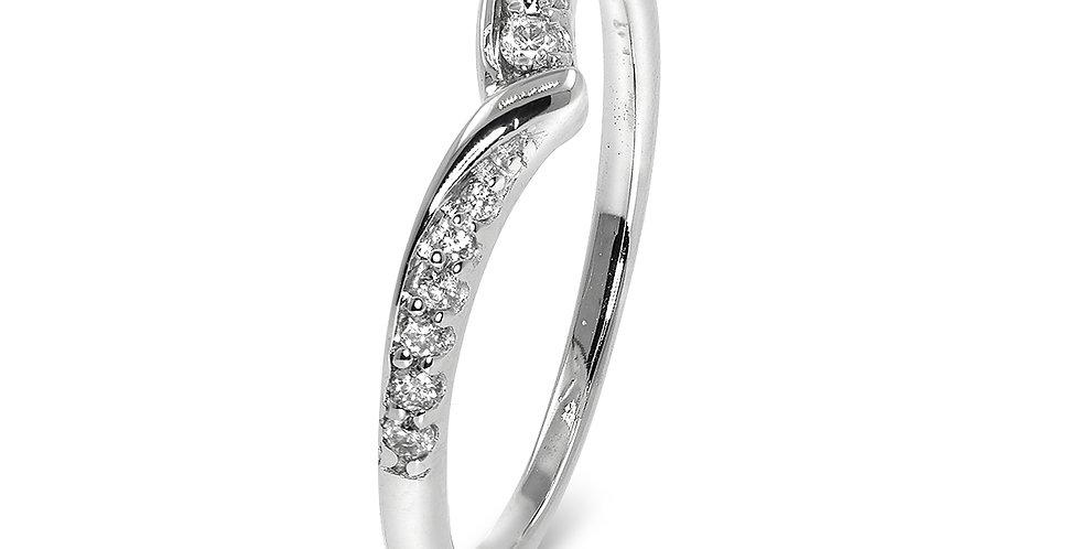 PRE OWNED: 18ct White Gold Diamond Wishbone Ring