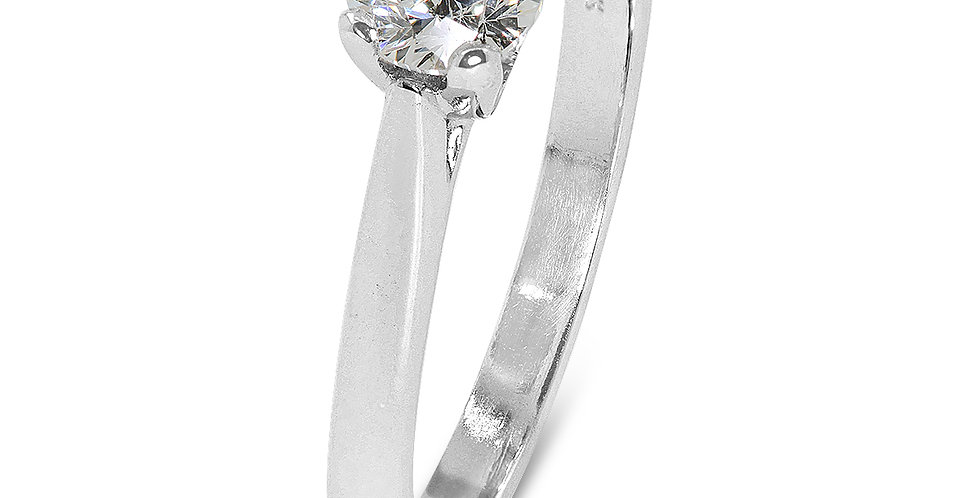 PRE OWNED: 18ct White Gold Certified 0.50ct Brilliant Cut Diamond Solitaire Ring