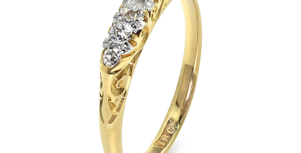 PRE OWNED: 18ct Yellow Gold Vintage 0.25ct Diamond Ring