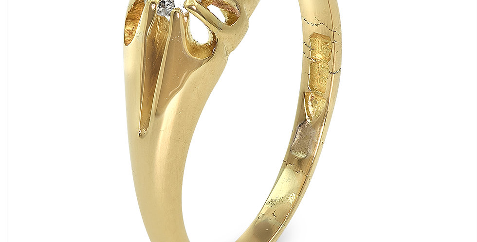 PRE OWNED: 18ct Yellow Gold Vintage Single Stone Diamond Ring