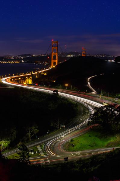 Golden Gate Bridge nestled in hills