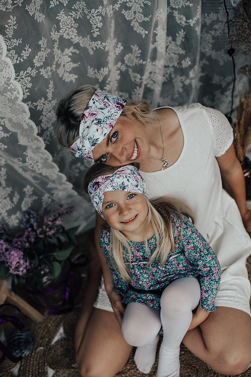 Różowe kwiaty Mama i Córka