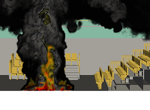 Leeds City College Theatre CFD model with smoke plume from the fire in the theatre space