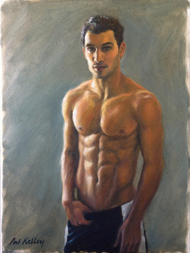 "Male Figure Study, oil on canvas, 12""x9"""