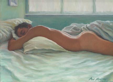 "Man Sleeping in Morning Light, oil on canvas, 9""x12"""