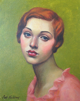 """Portrait of a Redheaded Flapper, oil on canvas, 10""""x8"""""""