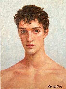 "Study of a Young Man, oil on canvas, 12""x9"""