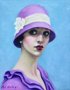 "Flapper in a Pink Cloche Hat, oil on canvas, 10""x8"""