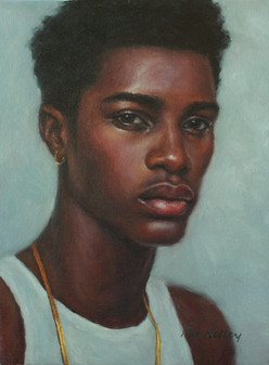 """A Young Man, oil on canvas, 12""""x9"""""""