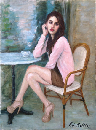 "Girl in a Sidewalk Cafe, oil on canvas, 12""x9"""