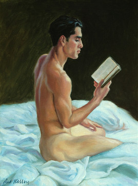 "Cesar Reading in Bed, oil on canvas, 12""x9"""