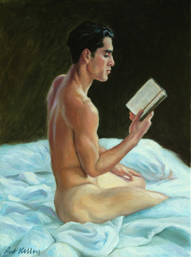 """Cesar Reading in Bed, oil on canvas, 12""""x9"""""""