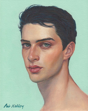 "Young Man with Blue Eyes, oil on canvas, 10""x8"""