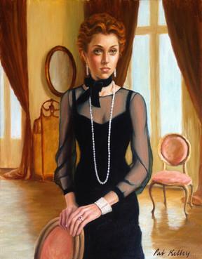 "Portrait of an Edwardian Lady, oil on canvas, 14""x11"""