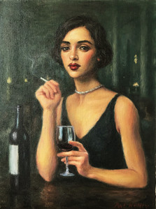 "Woman with Red Wine, oil on canvas, 16""x12"""
