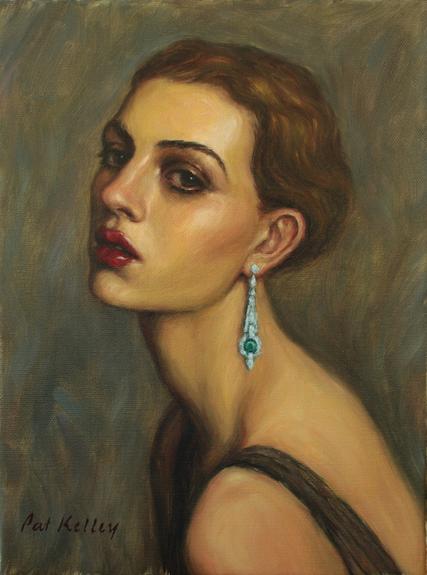 "Girl with an Emerald Earring, 12""x9"", oil on canvas"