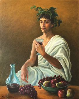 "Bacchus, oil on canvas, 20""x16"""