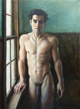 "Man by a Window, oil on canvas, 16""x12"""