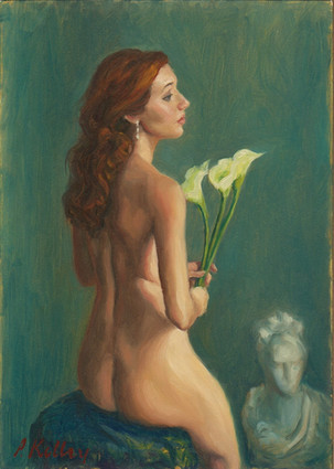 """Nude with Calla Lilies, oil on canvas, 7""""x5"""""""