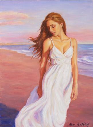 "Woman Walking on a Beach, oil on canvas, 16""x12"""