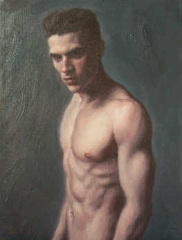 """Man in Darkness, oil on canvas, 12""""x9"""""""