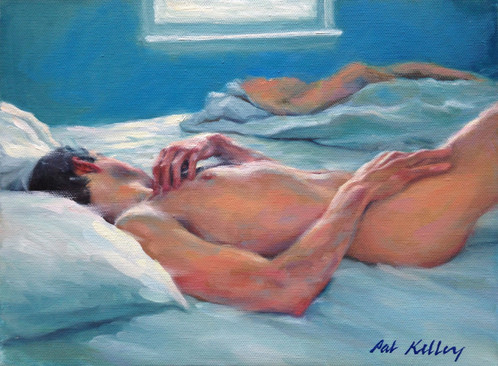 "Male Sleeping Figure, oil on canvas, 9""x12"""