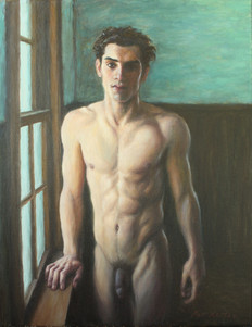 "Man by a Window 2, oil on canvas, 18""x14"""