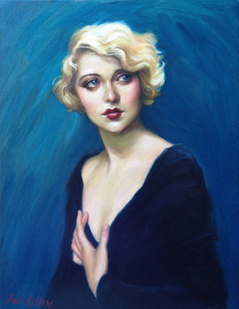 "Portrait of a Zeigfeld Girl, oil on canvas, 14""x11"""