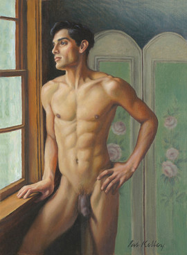 "Cesar at the Window, oil on linen, 15""x11"""