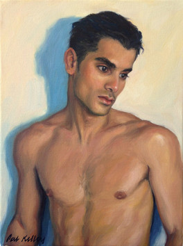 """Cesar in Pensive Mood, oil on canvas, 12""""x9"""""""