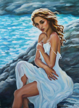 """Woman on the Rocks, oil on canvas, 16""""x12"""""""