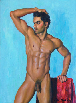 "Standing Male Nude Figure Study, oil on canvas, 12""x9"""