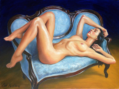"Nude on a Victorian Sofa, oil on canvas, 12""x9"""