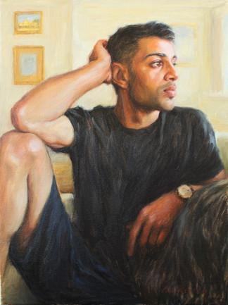 "Vedat in my Studio, oil on canvas, 16""x12"""