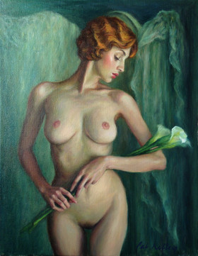 """Nude with Calla Lilies, oil on canvas, 14""""x11"""""""