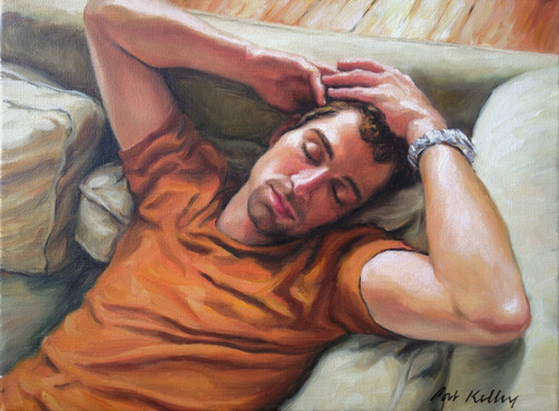 "Man Napping, oil on canvas, 9""x12"""