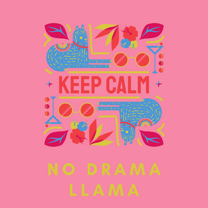 No Drama Llama Pink & Blue Fun Graphic