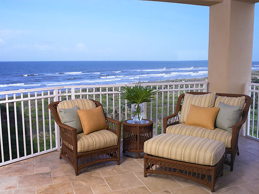 Oceanfront view outdoor furniture Lane Venture relaxing ocean view