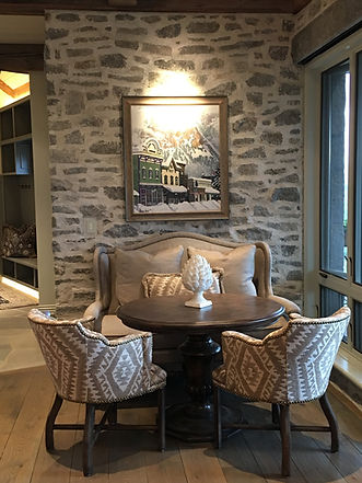 Cozy breakfast dining table spot in mountain home